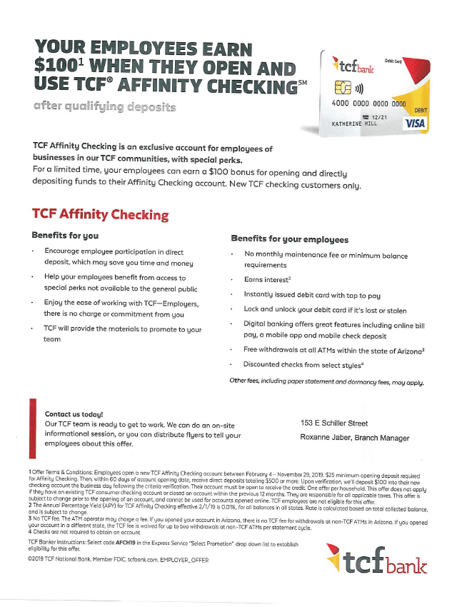 TCF National Bank Special Offer